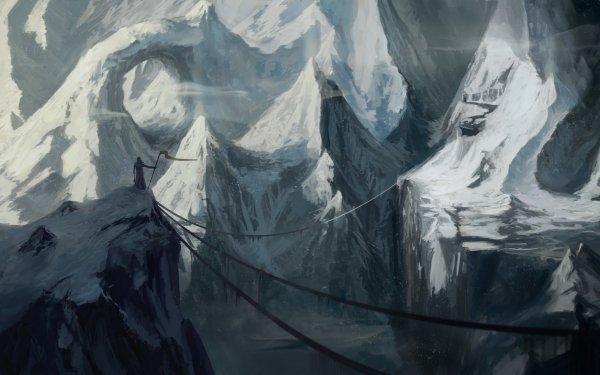 Fantasy Landscape Mountain Cliff Snow HD Wallpaper | Background Image