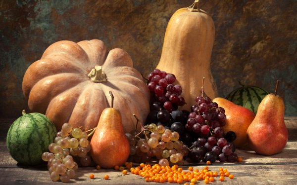Food Still Life Fall Harvest Pumpkin Grapes Pear HD Wallpaper | Background Image