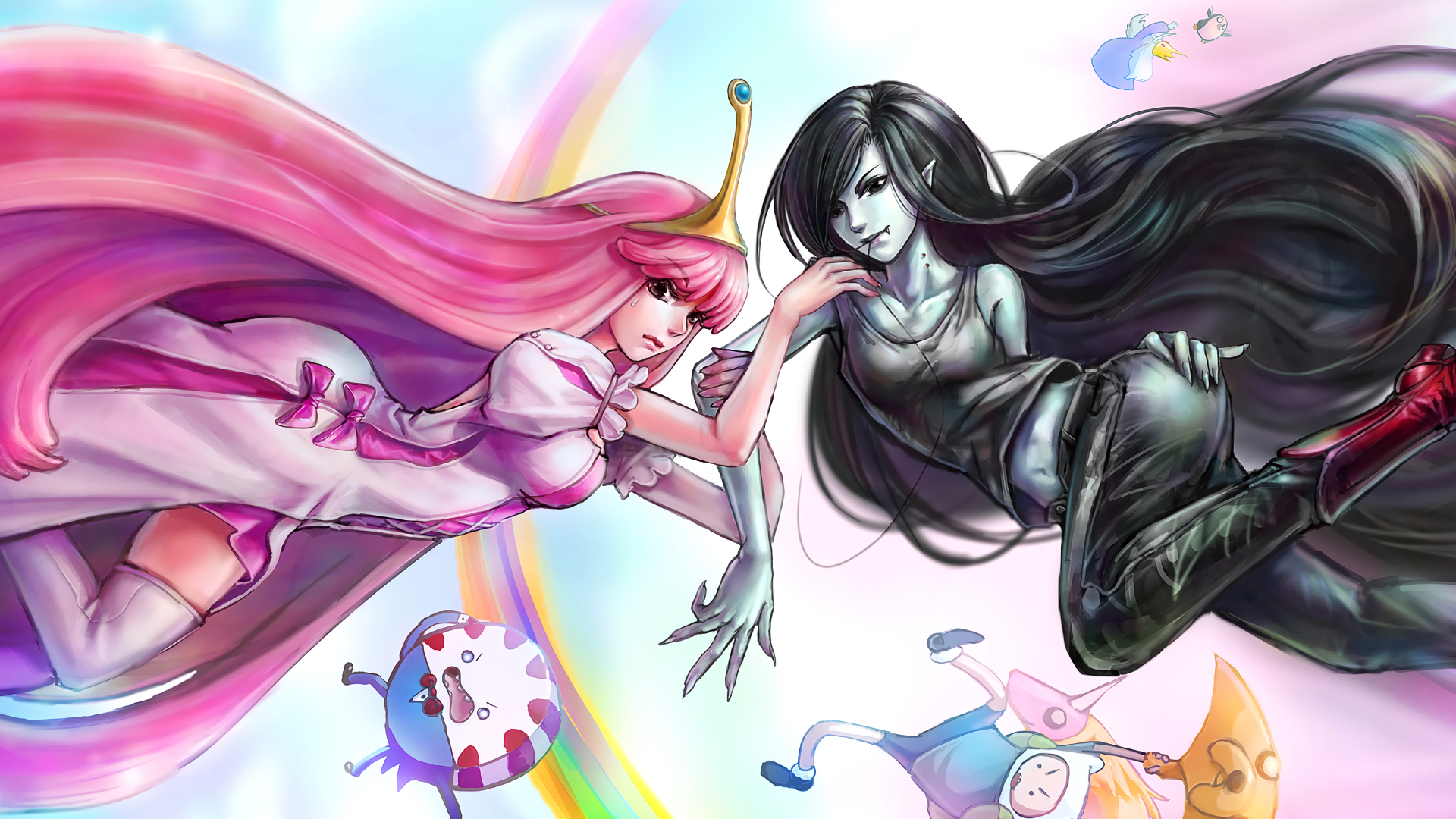 TV Show - Adventure Time  Marceline (Adventure Time) Princess Bubblegum Jake the Dog Finn (Adventure Time) Wallpaper