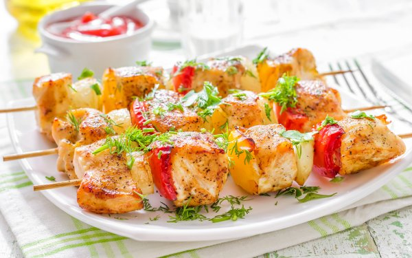 Food Barbecue Vegetable Meat Kebab HD Wallpaper | Background Image