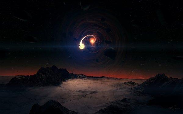 Sci Fi Landscape Black Hole Space Light HD Wallpaper | Background Image