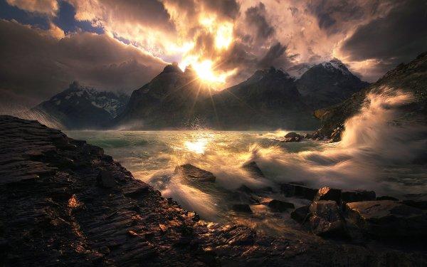 Earth Coastline Nature Wave Rock Landscape Mountain Sunbeam Cloud HD Wallpaper | Background Image