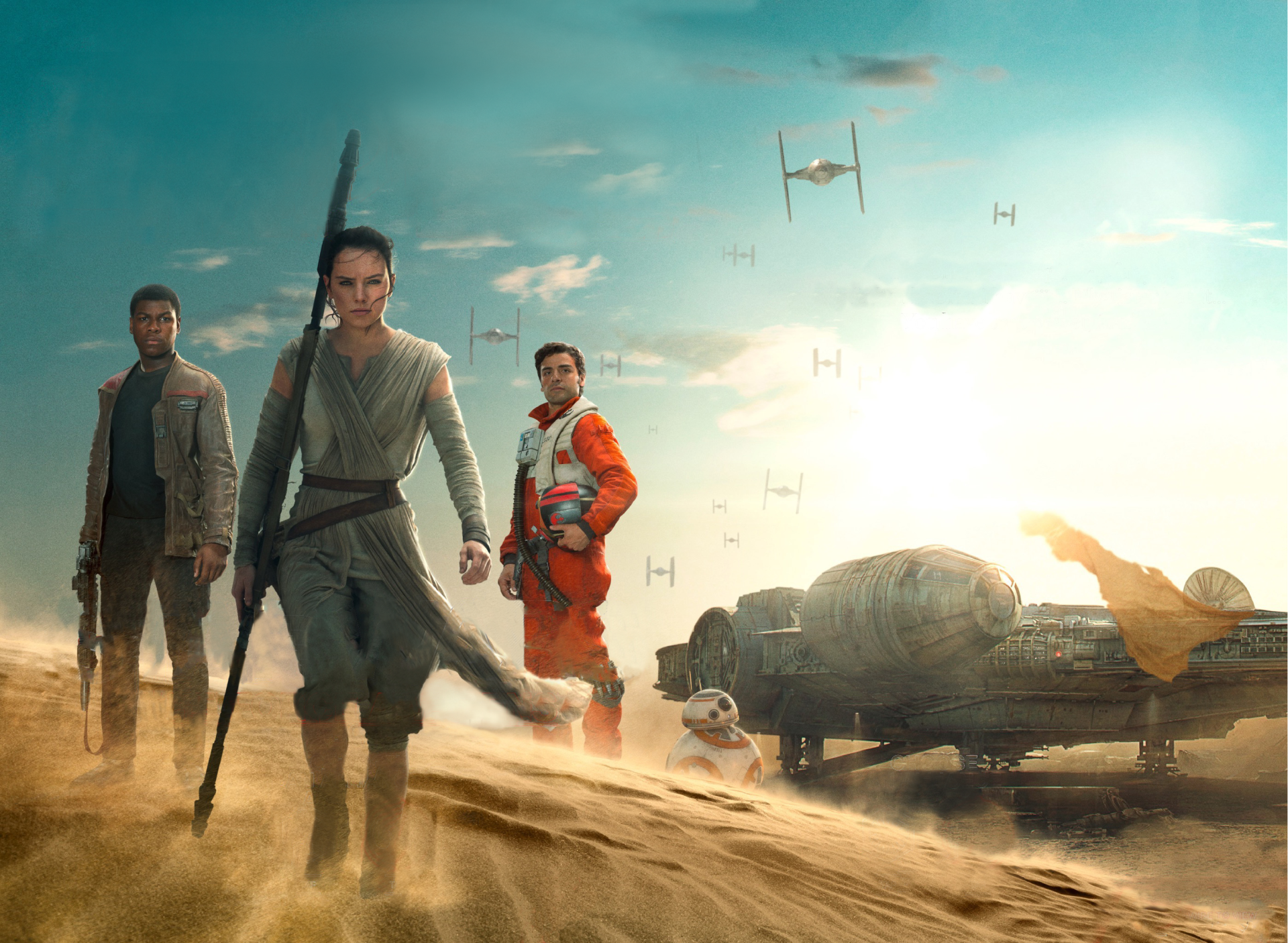Movie - Star Wars Episode VII: The Force Awakens  Oscar Isaac Poe Dameron Daisy Ridley John Boyega Rey (Star Wars) Finn (Star Wars) BB-8 Star Wars Wallpaper