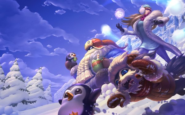 Video Game League Of Legends Syndra Bard Gnar Penguin Snow HD Wallpaper | Background Image