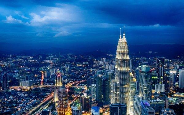 Man Made Kuala Lumpur Cities Malaysia City Metropolis Building Skyscraper Sky Cloud Cityscape Architecture Night Light Petronas Towers HD Wallpaper | Background Image