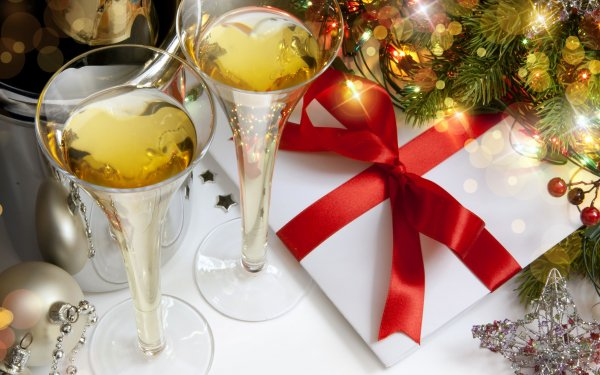 Holiday Christmas Gift Champagne Glass HD Wallpaper   Background Image