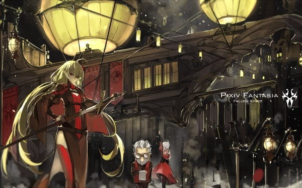 Anime Pixiv Fantasia Fallen Kings Blonde Long Hair Red Eyes Sword HD Wallpaper | Background Image