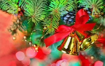 Holiday Christmas Christmas Ornaments Bell HD Wallpaper | Background Image