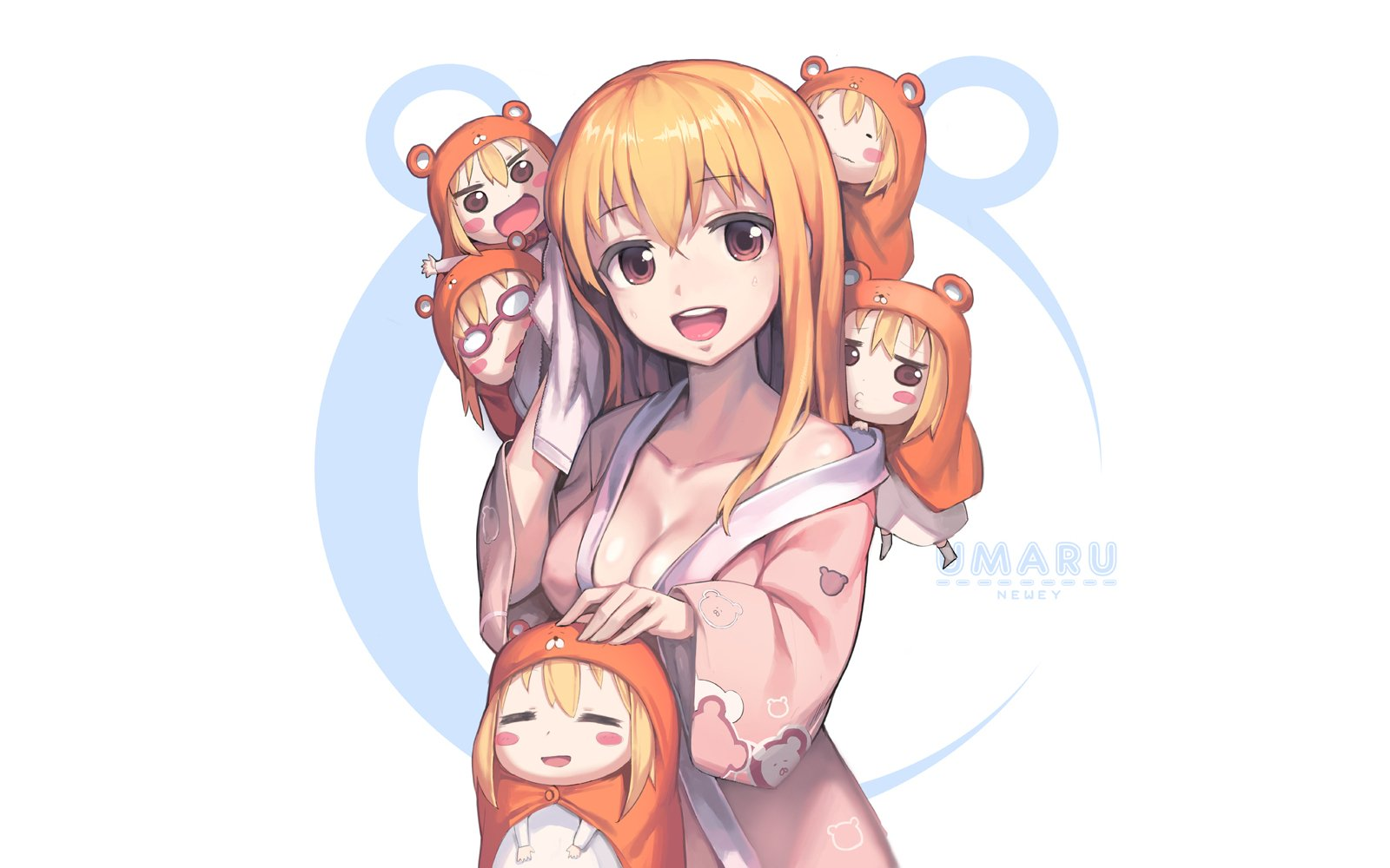 Anime - Himouto! Umaru-chan  Umaru Doma Chibi Anime Kimono Long Hair Blonde Wallpaper