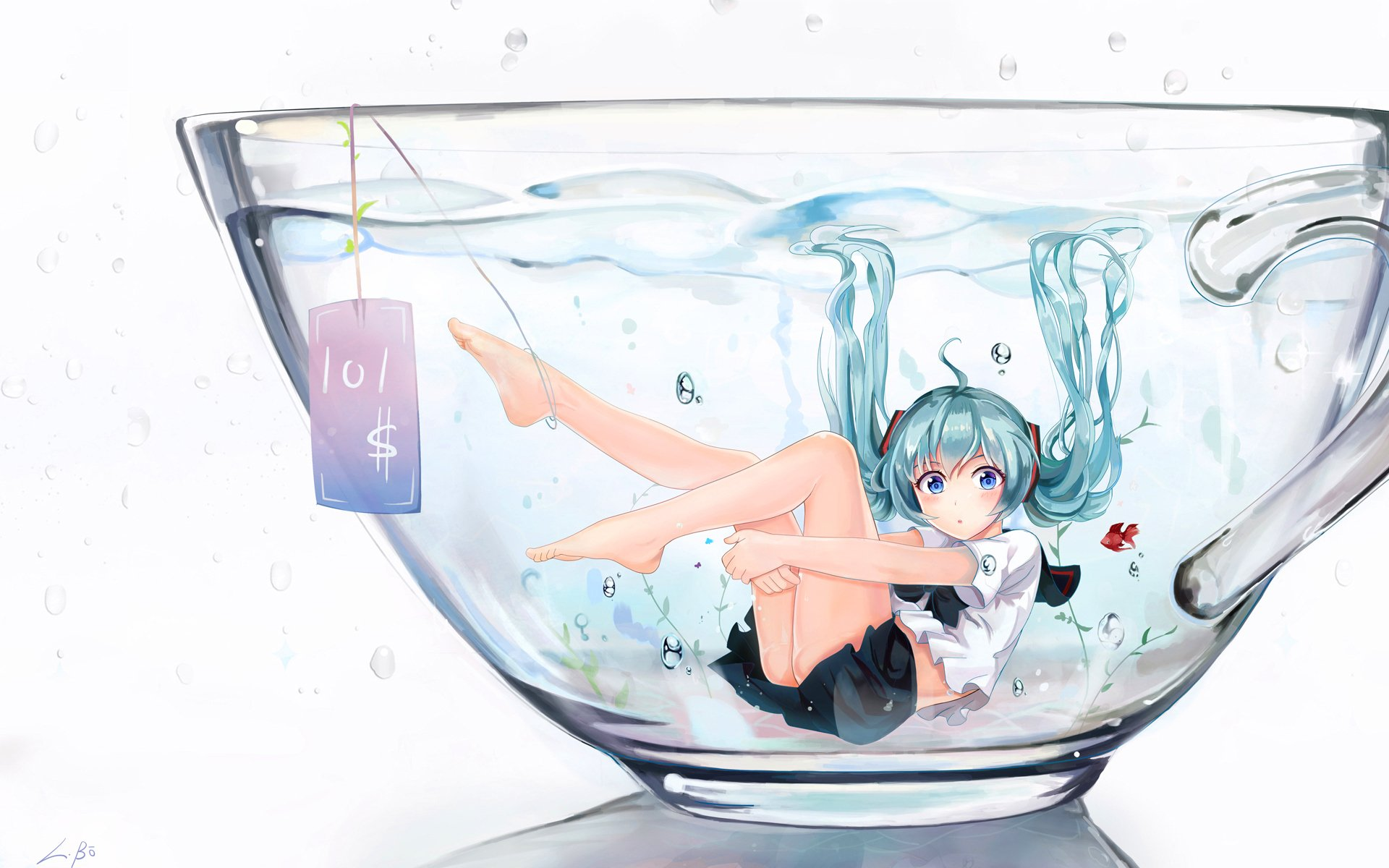 Anime - Vocaloid  Anime Hatsune Miku Twintails Cup Water Blue Hair Blue Eyes Skirt Girl Wallpaper