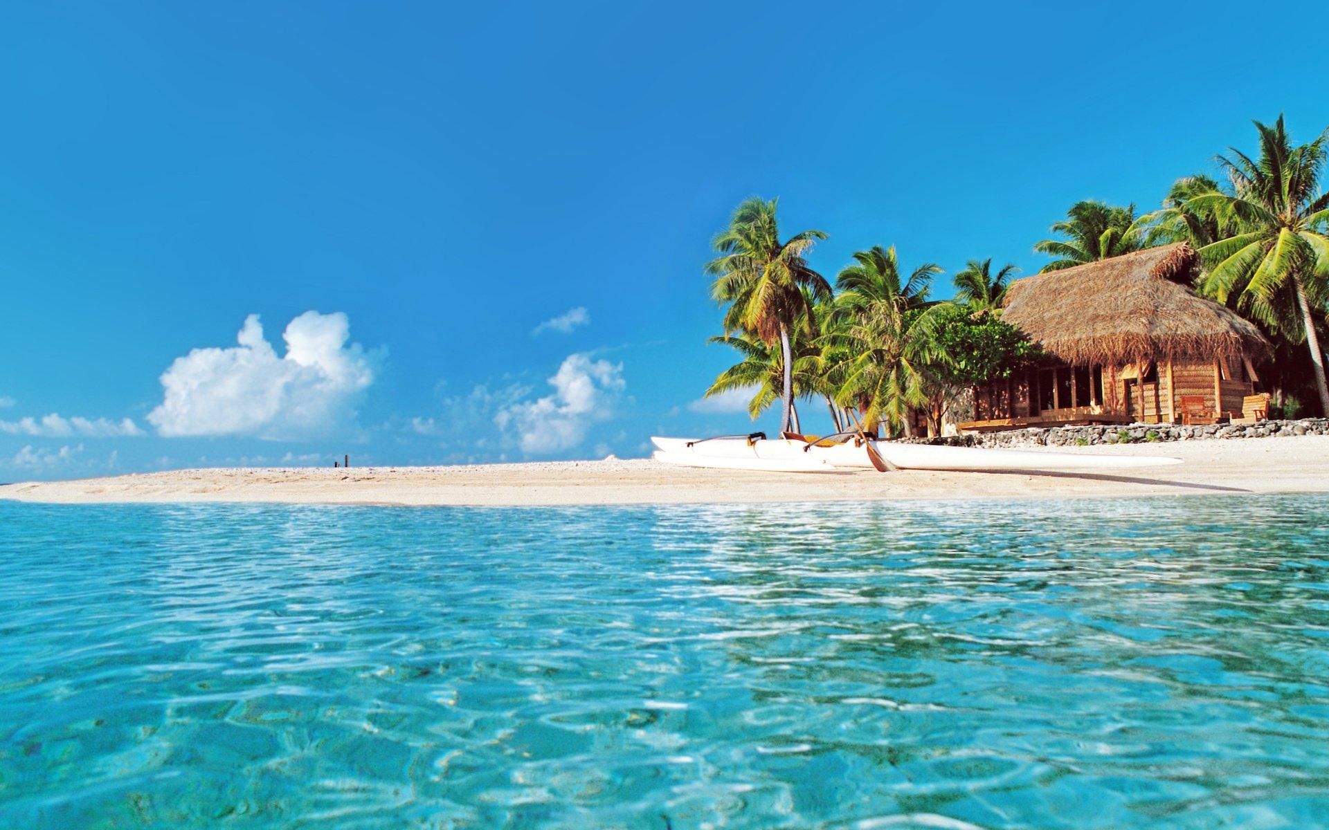 Tropical Paradise Beach Hd Wallpaper For Nexus 7 Screens: Hut On Tropical Beach Full HD Wallpaper And Background