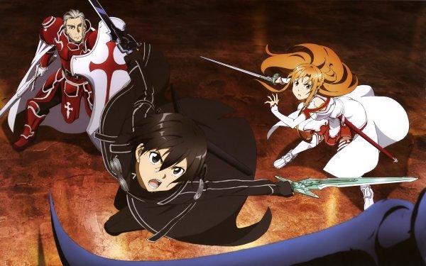 Anime Sword Art Online Kirito Asuna Yuuki Heathcliff Fondo de pantalla HD | Fondo de Escritorio