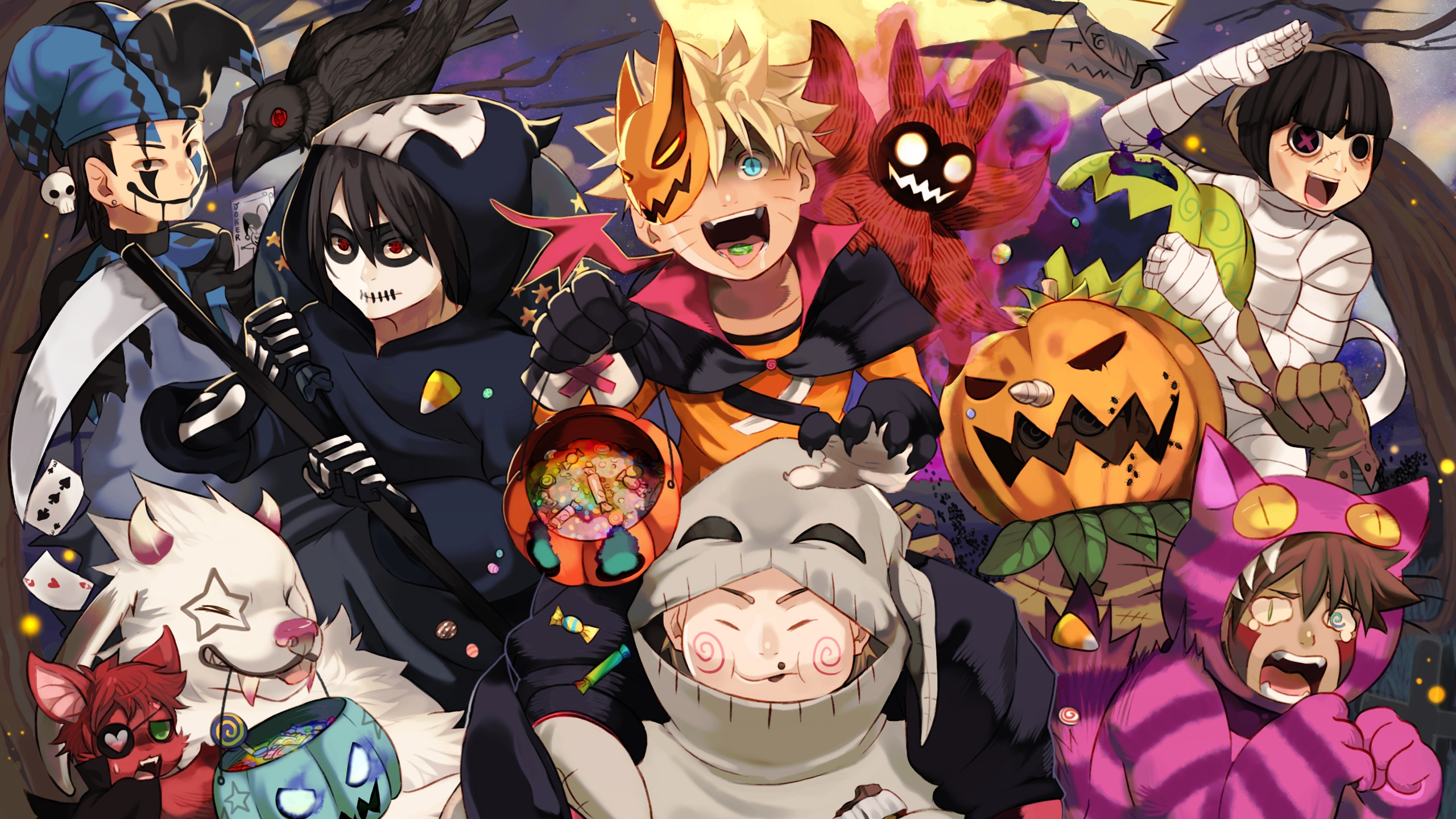 narutos halloween party hd wallpaper background image