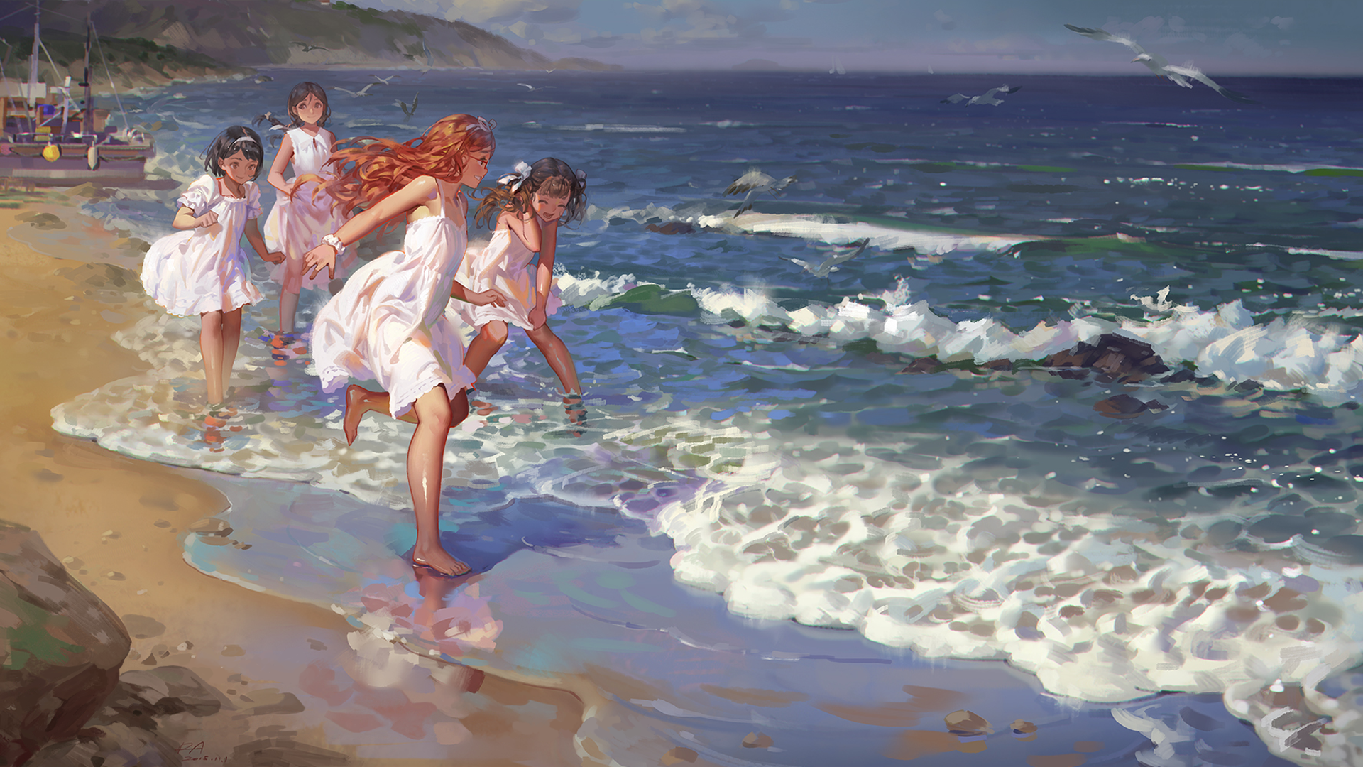Girls On The Beach Hd Wallpaper Background Image 1920x1080