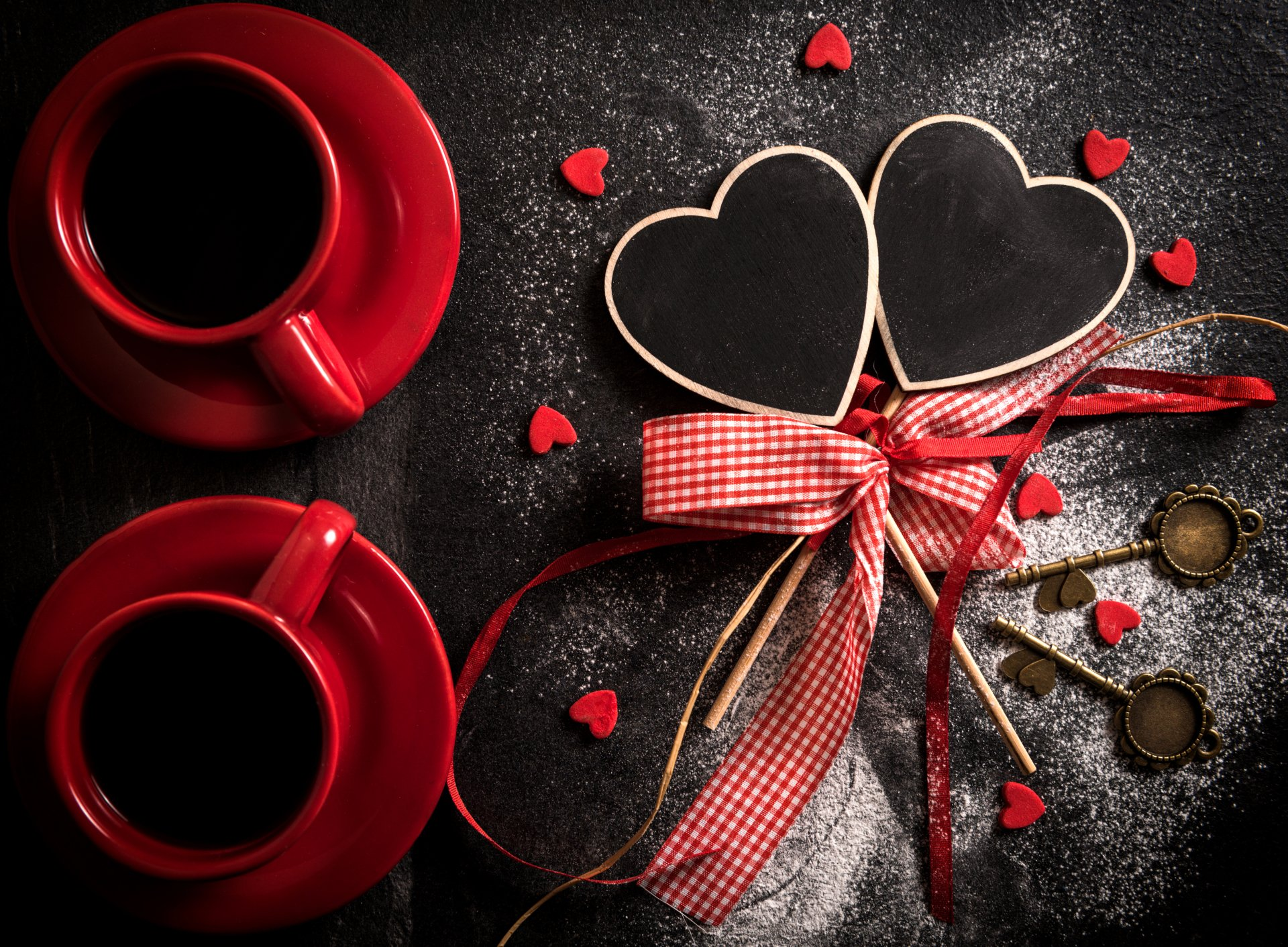 Holiday - Valentine's Day  Heart Love Key Ribbon Red Coffee Holiday Wallpaper