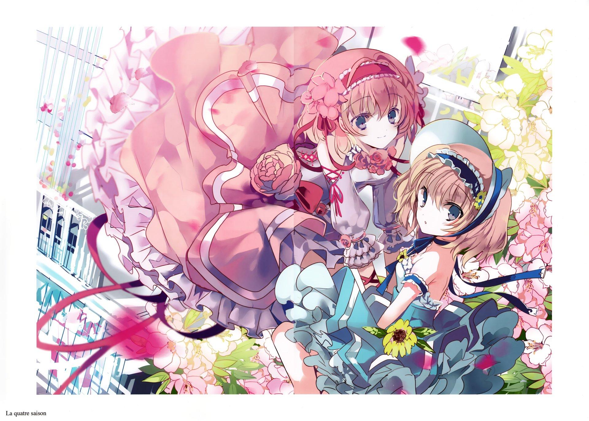 Anime - Touhou  Anime Alice Margatroid Pink Hair Long Hair Headband Blue Eyes Pink Dress Blue Dress Flower Wallpaper