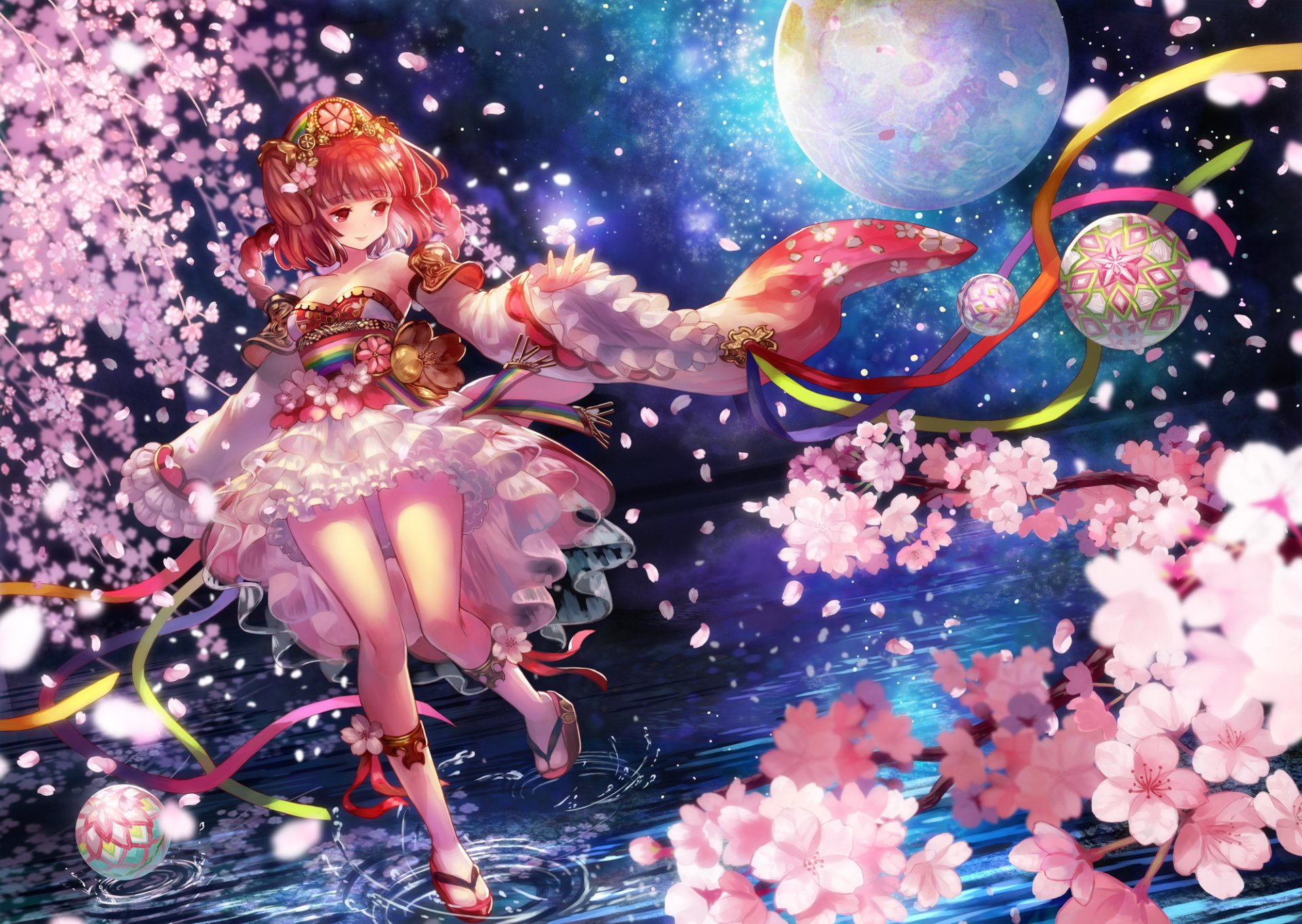 Anime - Original  Anime Original (Anime) Girl Long Hair Red Hair Armor Braid Cherry Blossom Dress Flower Headdress Red Eyes Twintails Ribbon Water Wallpaper