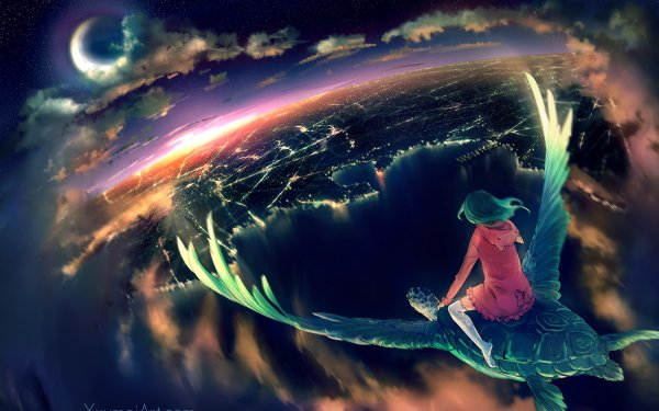 Anime Original Landscape Moon Turtle City Sky Cloud Light Water HD Wallpaper   Background Image