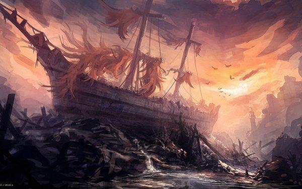 Fantasy Ship Wreck HD Wallpaper | Background Image