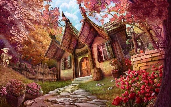 Fantaisie Maison Artistique Arbre Chemin Fleur Fond d'écran HD   Arrière-Plan