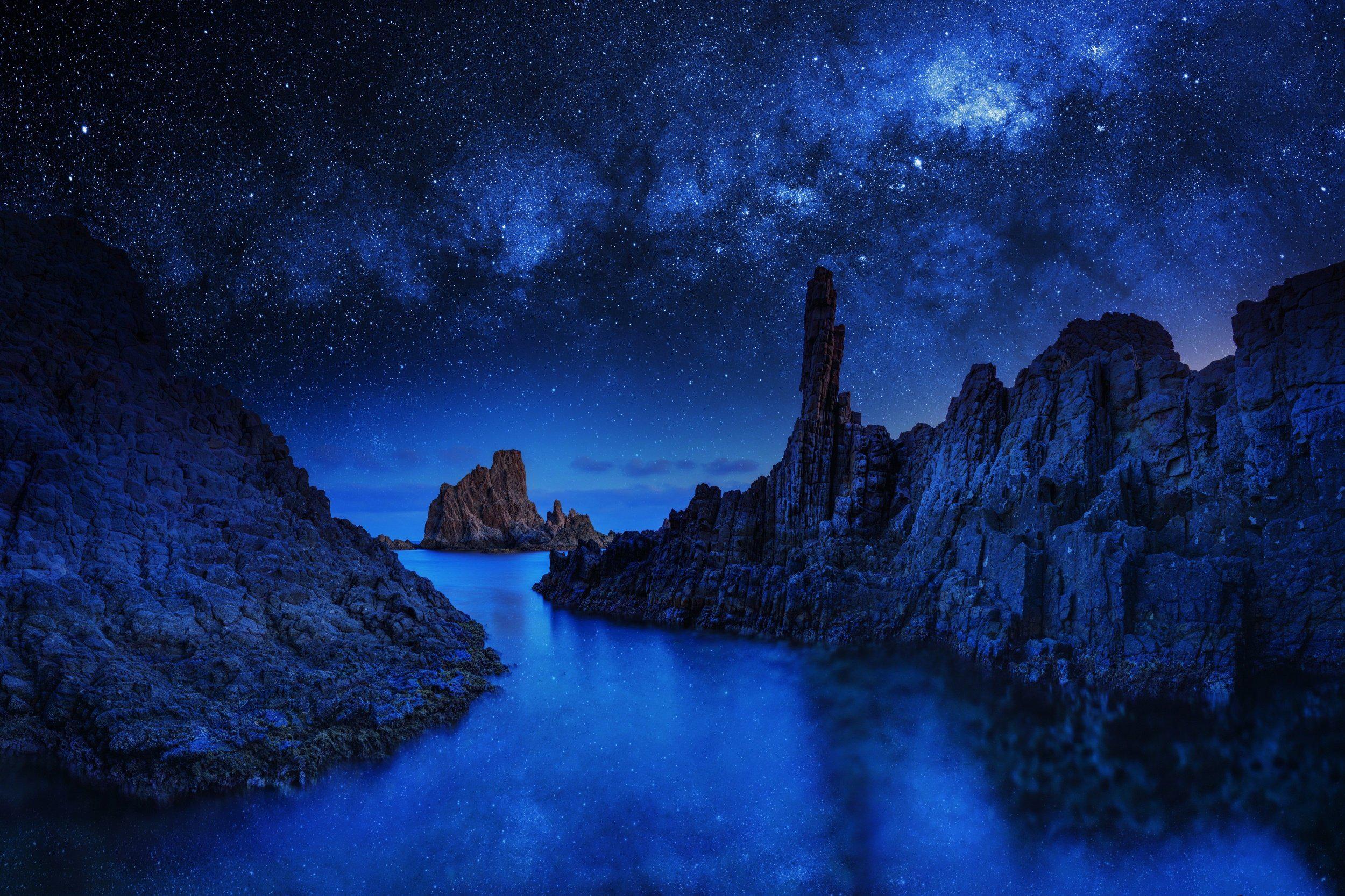 Ocean Rocks On Starry Night Hd Wallpaper Background Image
