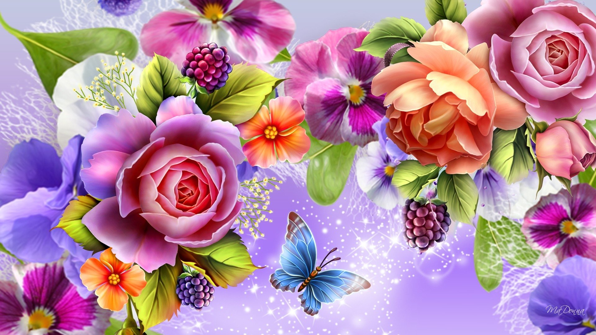 Wallpapers papillon hd le color de fleur x fonds d cran photo 1366x768 - Artistique Fleur Belle Sparkles Papillon Colorful Couleurs Artistique Fond D Cran