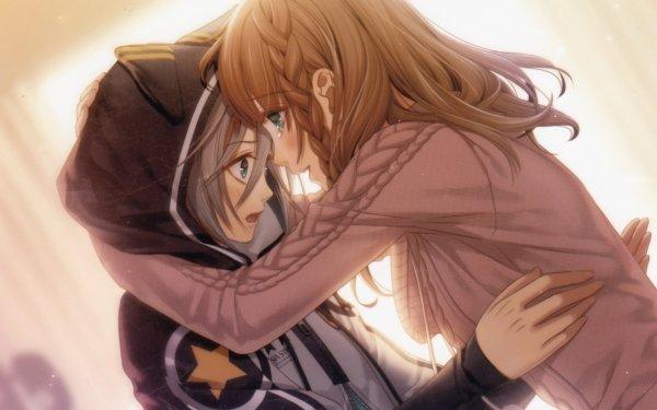 Anime Amnesia Long Hair Brown Hair Green Eyes Braid Hoodie White Hair Blush Smile HD Wallpaper | Background Image