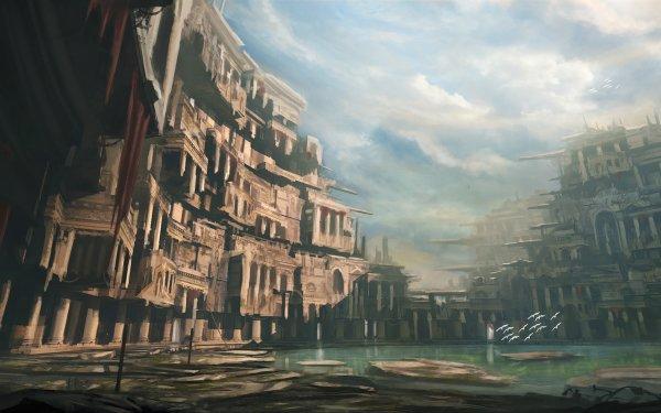 Fantaisie Ruine Bâtiment Lac Fond d'écran HD | Arrière-Plan
