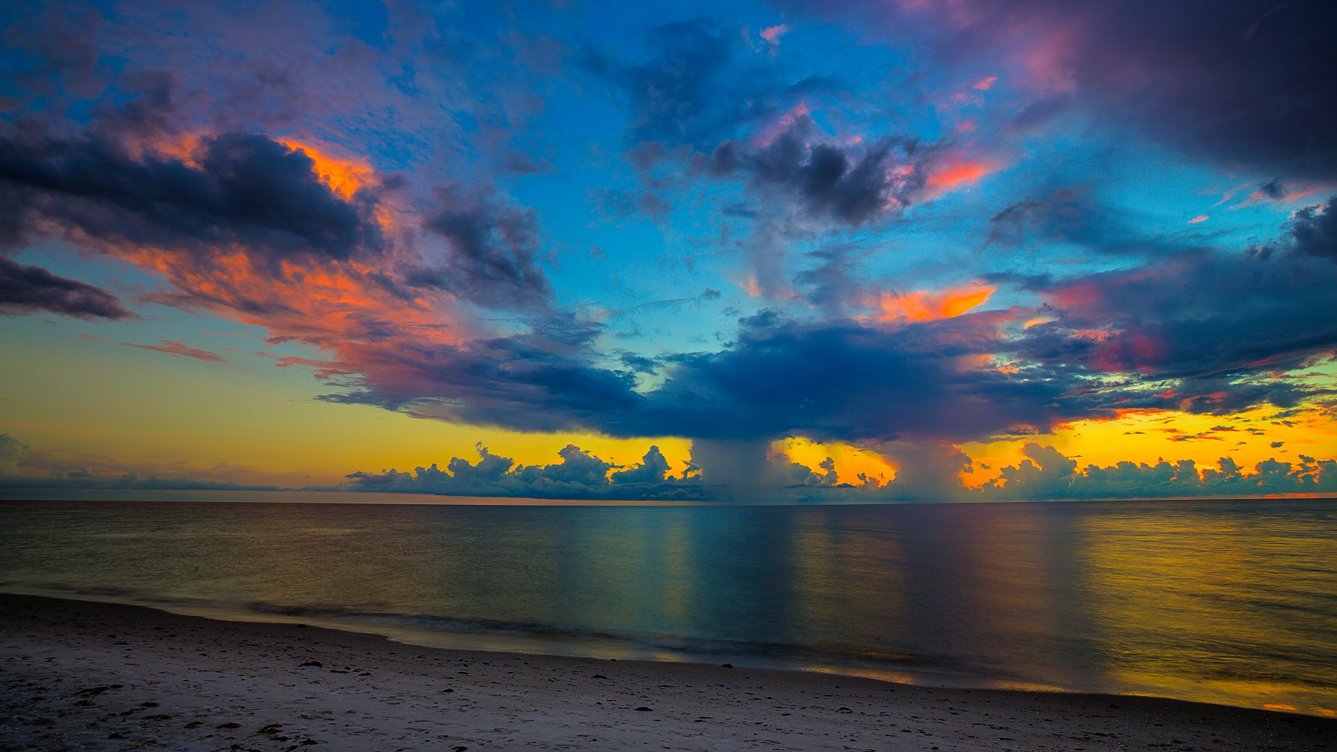Florida Beach Sunset Full HD Wallpaper And Background