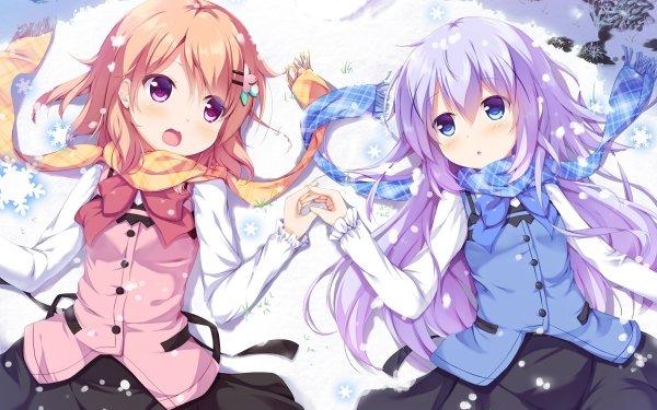 Anime Gochuumon wa Usagi Desu ka? Kokoa Hoto Chino Kafū Short Hair Snow Orange Hair Purple Hair Long Hair Dress Skirt bow Scarf Pink Eyes Blush Copo de nieve Fondo de pantalla HD | Fondo de Escritorio