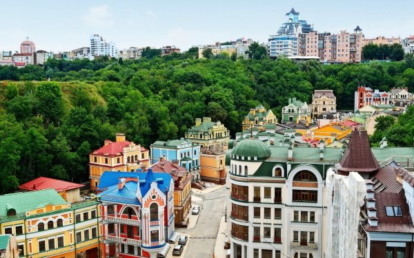 Man Made Kiev Cities Ukraine City House Tree Forest HD Wallpaper | Background Image
