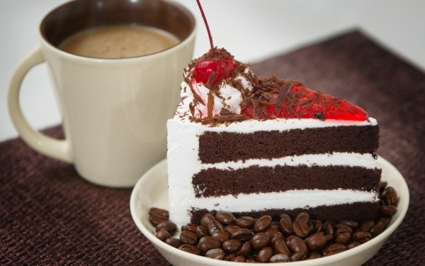 Food Dessert Cake Coffee Coffee Beans Cherry Chocolate Cup HD Wallpaper | Background Image