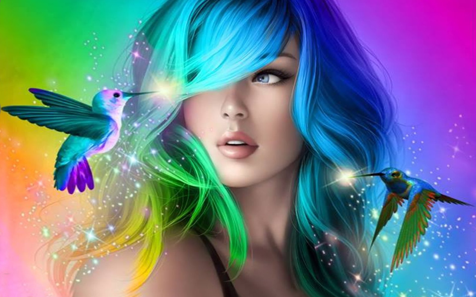 Artistic - Women  Woman Hair Colorful Blue Eyes Hummingbird Sparkles Blue Purple Wallpaper