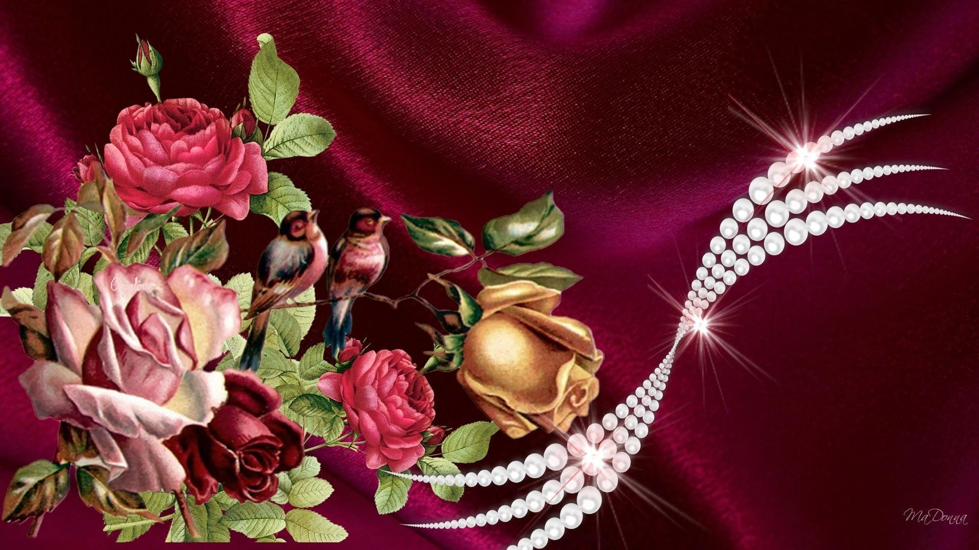 vintage flowers and pearls full hd wallpaper and