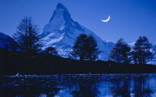 Earth Matterhorn Mountains Sky Evening Switzerland Mountain Blue Night Moon Tree Peak Nature HD Wallpaper | Background Image