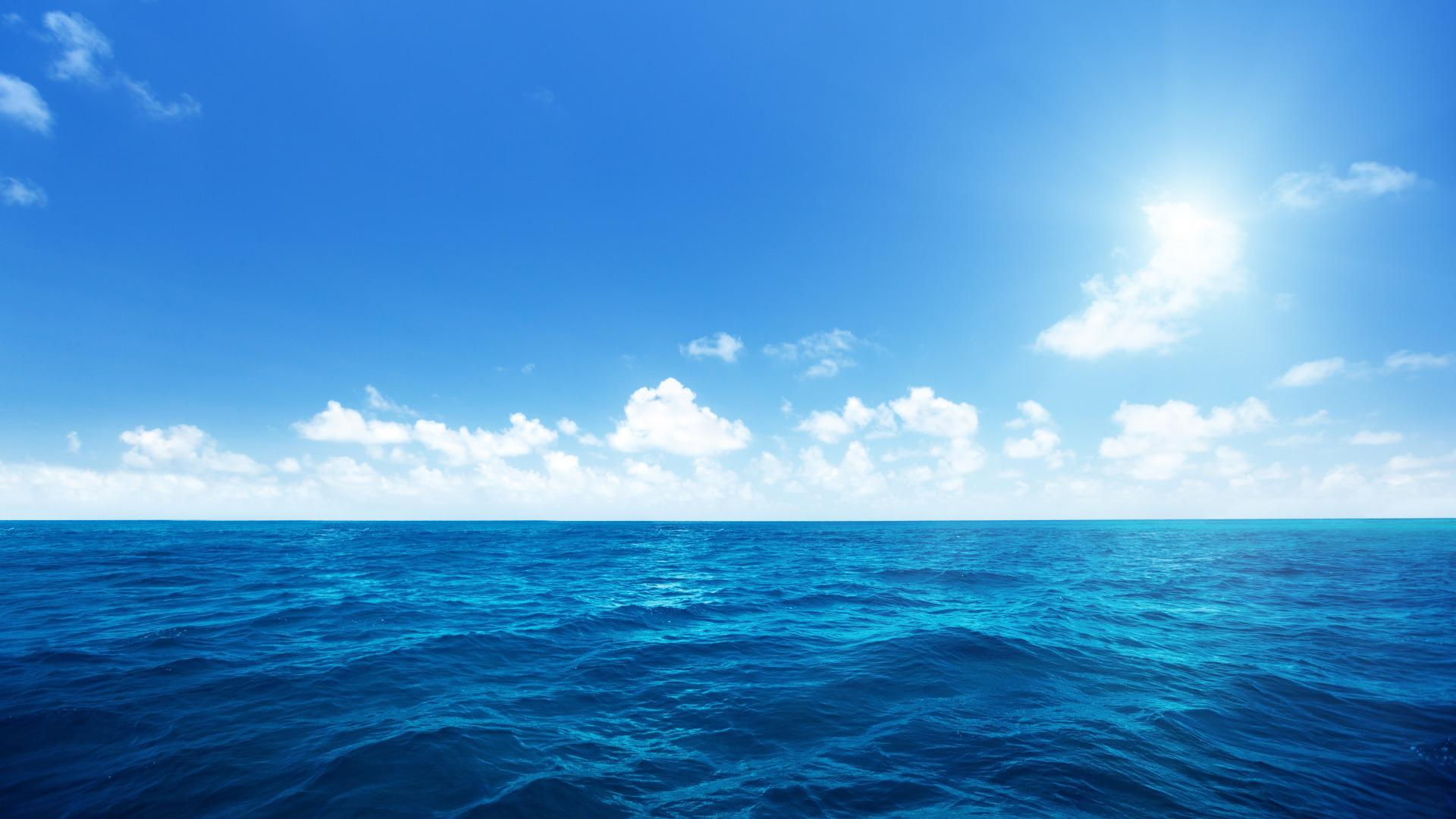 Blue Sea And Sky Full HD Wallpaper Background Image