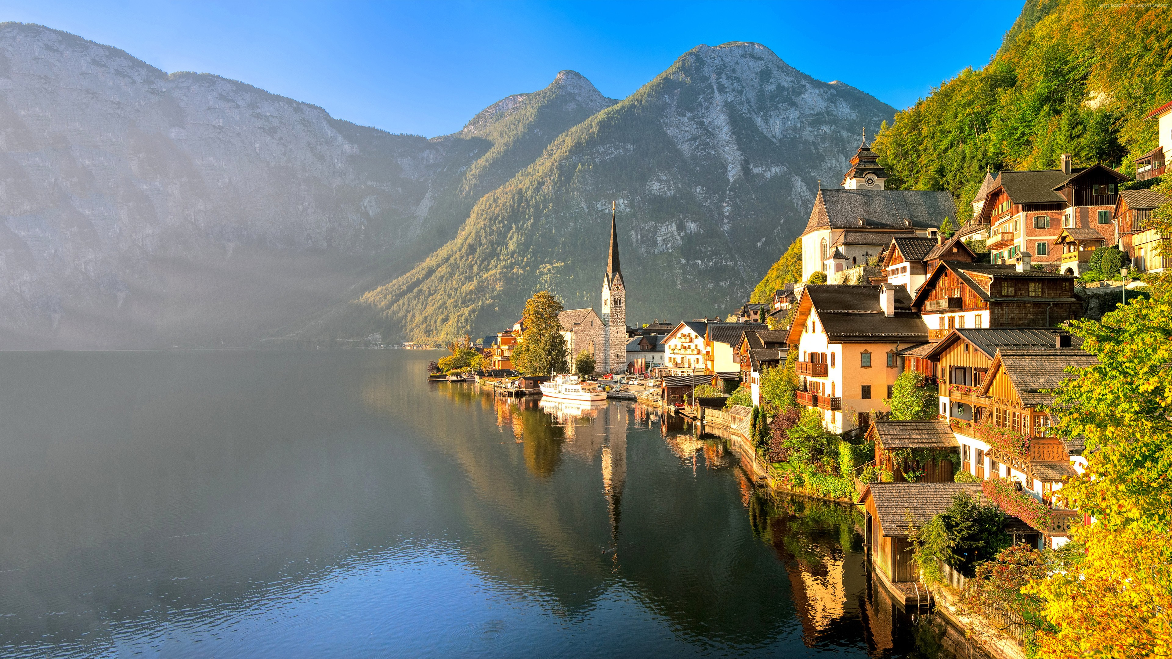 Haus am see wallpaper  Hallstatt, Austria 4k Ultra HD Wallpaper and Hintergrund ...