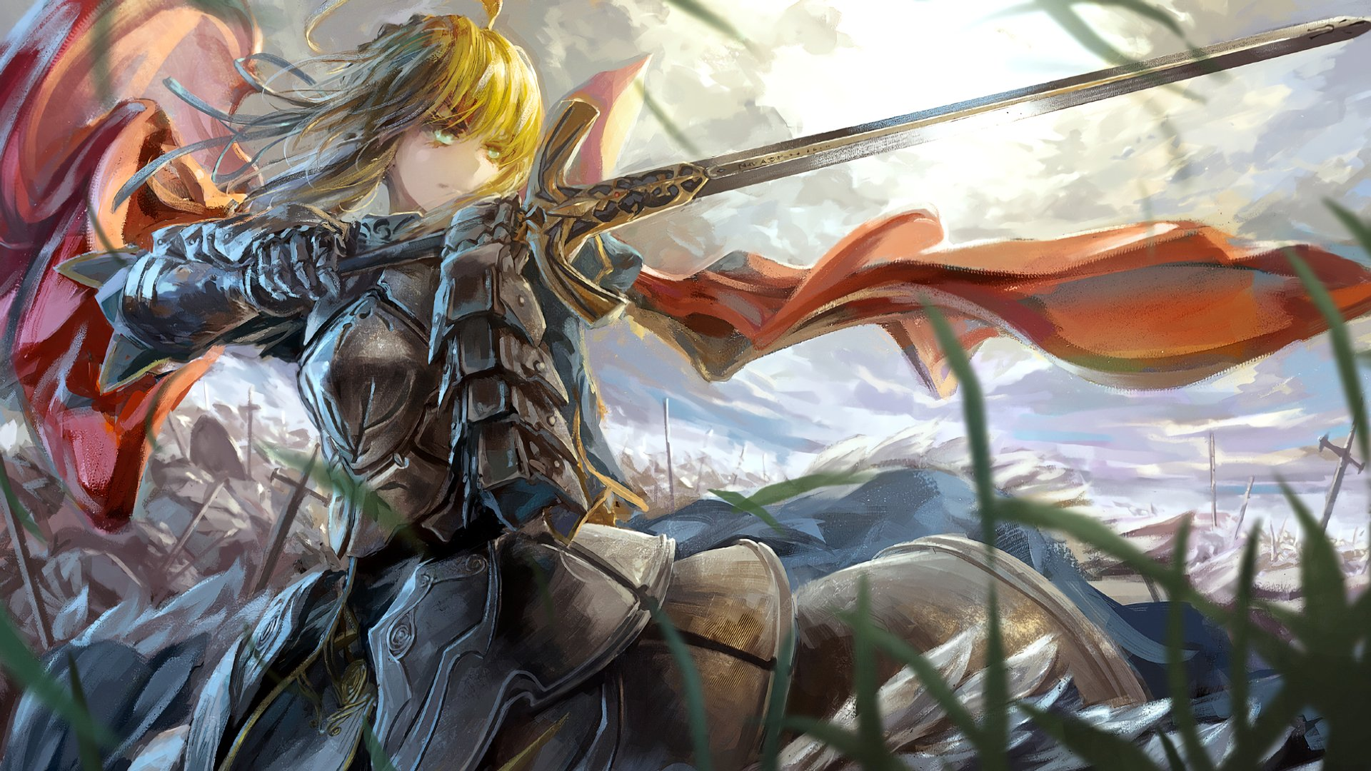 Anime - Fate/Stay Night  Woman Warrior Blonde Saber (Fate Series) Sword Armor Wallpaper