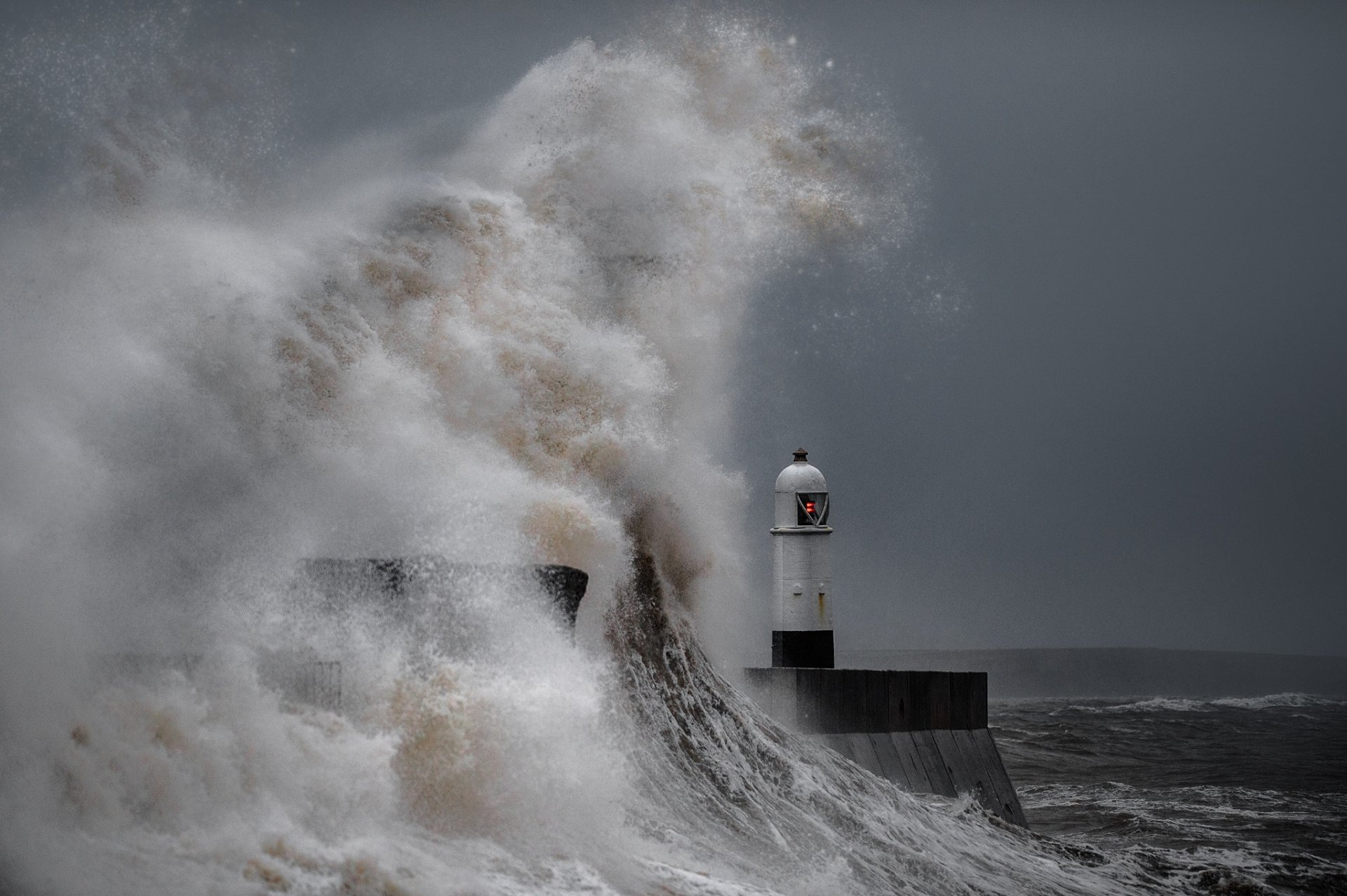 lighthouse in ocean storm full hd wallpaper and background