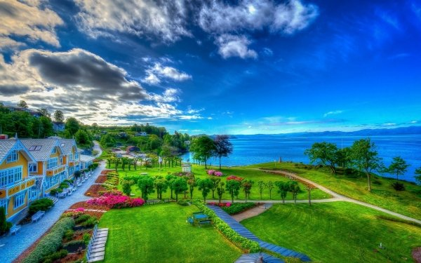 Man Made Resort Vacation HDR Colorful Ocean Palm Tree Tropical Hotel HD Wallpaper   Background Image