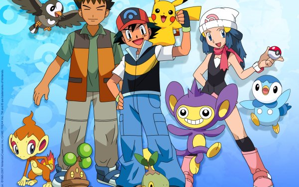 Anime Pokémon Starly Piplup Pikachu Ash Ketchum Dawn Brock Aipom Chimchar Turtwig Bonsly Pokeball Fond d'écran HD | Arrière-Plan