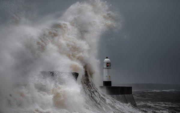 Man Made Lighthouse Buildings Storm Ocean Wave Crest HD Wallpaper | Background Image
