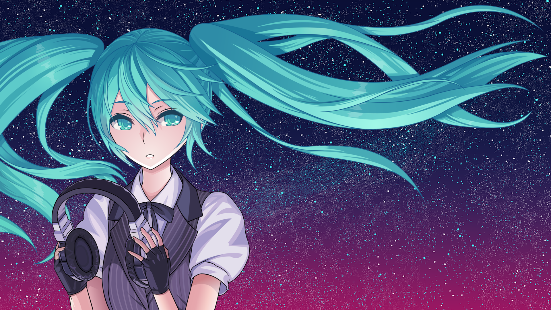 hatsune miku starry sky full hd wallpaper and background