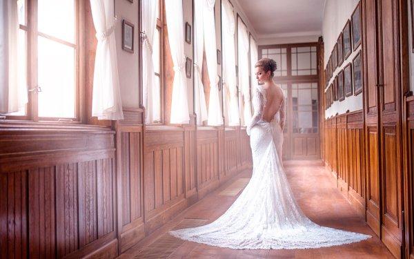 Women Bride Woman Rear Wedding Dress HD Wallpaper | Background Image