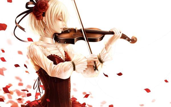 Anime Original Short Hair Blonde Petal Violinist Violin Red Flower HD Wallpaper | Background Image