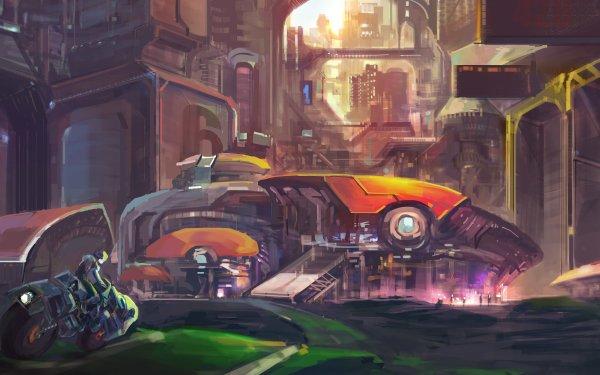 Sci Fi City Vehicle Artistic HD Wallpaper   Background Image