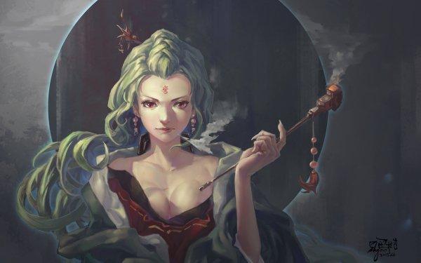Fantasy Women Woman Smoking Green Hair Long Hair Red Eyes Earrings Oriental HD Wallpaper   Background Image