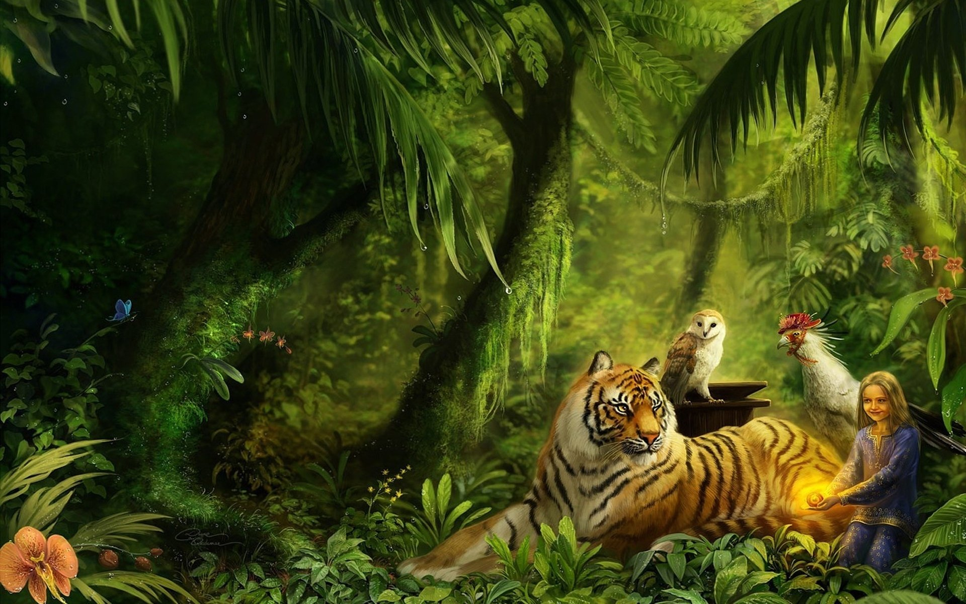 Artistic - Fantasy  Wood Girl Artistic Jungle Forest Rainforest Lion Little Girl Child Tree Owl Bird Tiger Wallpaper