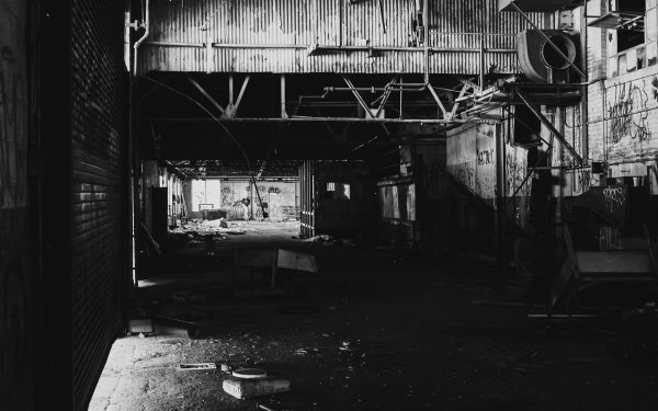 Man Made Building Buildings Black & White Industrial Abandoned Ruin HD Wallpaper | Background Image