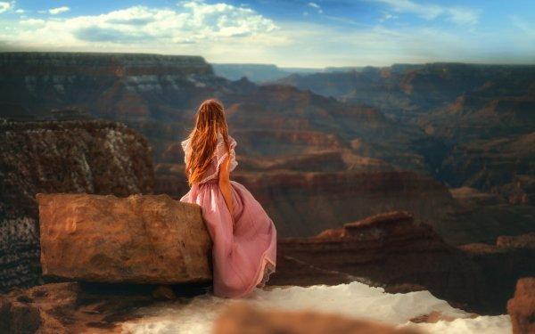 Frauen Hinten Woman Outdoor Redhead Pink Dress HD Wallpaper | Hintergrund